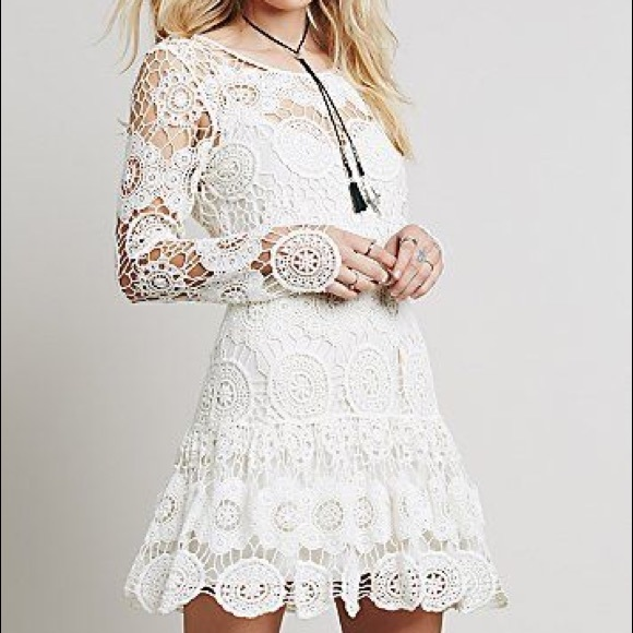 1635fd897319 Free People Dresses & Skirts - Free People Ivory Long Sleeve Boho Crochet  Dress